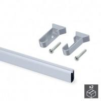 Emuca barra de armario con goma, ovalada, 30x15 mm, 950 mm, Aluminio, Anodizado mate, 2 ud.