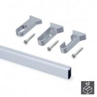 Kit de 2 tubos 30x15mm de aluminio largo 1400mm y soportes Silk Emuca para armario