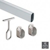 Emuca Barra de armario, ovalada 30x15 mm, 1.400 mm, Aluminio, Anodizado mate, 2 ud.