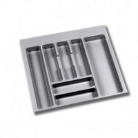 Emuca Cubertero para cajón de cocina, módulo 600 x 500 mm, espesor 18 mm, Plástico, Gris