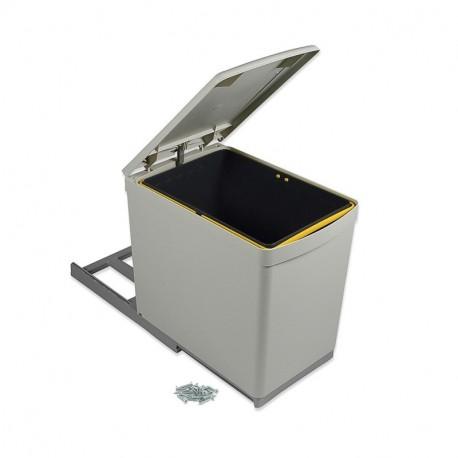 Contenedor de reciclaje Emuca de fijación inferior y extracción manual con 1 vaso de 16 litros y tapa automática