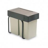 Contenedor de reciclaje Emuca de fijación inferior y extracción manual con 2 vasos de 14 litros y tapa automática
