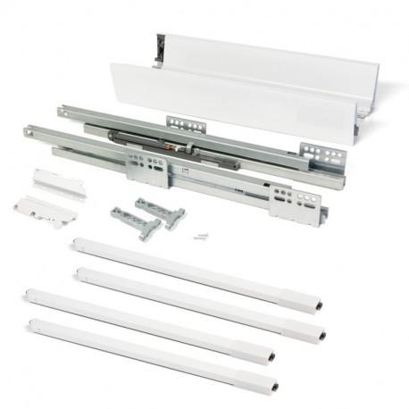 Kit de cajón Vantage-Q Emuca altura 204 mm y profundidad 500 mm con barandillas en color blanco