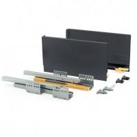 Kit de cajón Concept Emuca altura 185 mm y profundidad 350 mm en color gris antracita