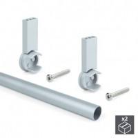 Emuca Barra de armario, redonda, D. 28 mm, 950 mm, Aluminio, Gris metalizado, 2 ud.
