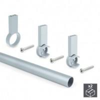 Emuca Barra de armario, redonda, D. 28 mm, 1.400 mm, Aluminio, Gris metalizado, 2 ud.