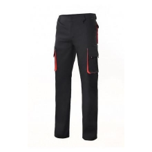 Pantalon multibolsillos con refuerzo 103004-012 negro/rojo VELILLA