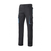 Pantalon multibolsillos con refuerzo 103004 negro/celeste VELILLA
