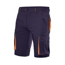 Bermuda stretch bicolor multibolsillos 103010S azul/naranja VELILLA