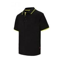 Polo raya bicolor de manga corta 105505 0-20 negro/amarillo VELILLA