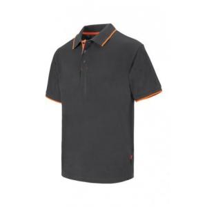 Polo raya bicolor de manga corta 105505 8-19 gris/naranja VELILLA