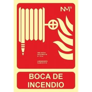 Señal boca/manguera iincendio pvc 300x210x0,7mm homol.tipo B NORMALUZ