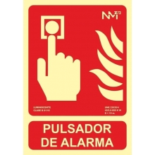 Señal pulsador de alarma pvc 300x210x0,7mm homol.tipo B lum NORMALUZ