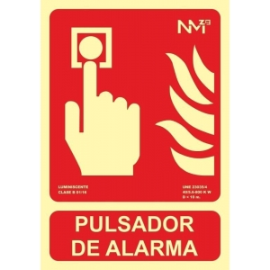 Señal pulsador de alarma pvc 300x210x0,7mm homol.tipo B lumi NORMALUZ