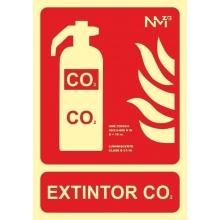 Señal extintor c02 300x210x0,7mm pvc NORMALUZ