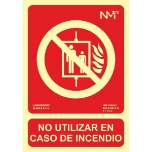 Señal no utilizar en caso de incendio pvc 300x210x0,7mm NORMALUZ