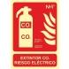 Señal extintor co2 riesgo electrico pvc 300x210x0,7mm NORMALUZ