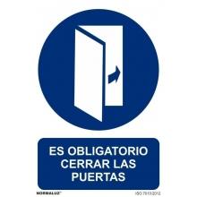 Señal obligacion cerrar las puertas pvc 100x150x0,7mm NORMALUZ