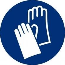 Señal adhesiva obligacion uso guantes vinilo 90mm NORMALUZ