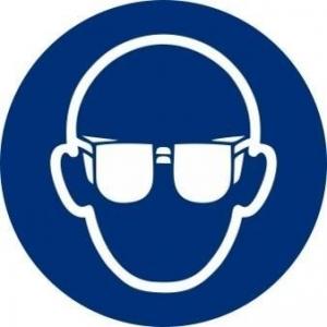 Señal adhesiva obligacion uso gafas vinilo 90mm NORMALUZ