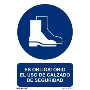 Señal obligacion uso calzado seguridad pvc 210x300x0,7mm NORMALUZ