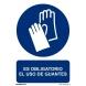 Señal obligacion uso guantes adhesivo vinilo 150x200x0,7mm NORMALUZ