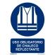 Señal obligacion uso chaleco reflectante pvc 210x300x0,7mm NORMALUZ