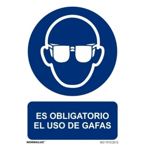Señal obligacion uso gafas adhesivo 100x150x0,7mm NORMALUZ