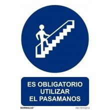 """Señal """"Uso obligatorio pasamanos"""" PVC 210x300 NORMALUZ"""