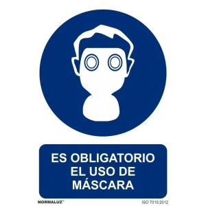 Señal obligacion uso mascara adhesiva 200x300x0,7mm NORMALUZ