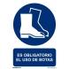 Señal obligacion uso botas adhesivo 100x150x0,7mm NORMALUZ