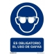 Señal obligacion uso gafas pvc 210x300x0,7mm NORMALUZ