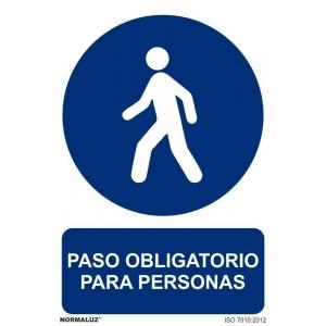 Señal paso obligatorio personas pvc 210x300x0,7mm NORMALUZ