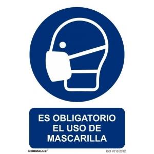 Señal obligacion uso mascarilla pvc 210x300x0,7mm NORMALUZ