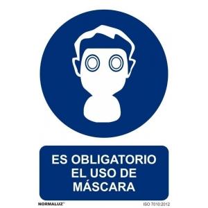 Señal obligacion uso mascara aluminio 210x300x0,5mm NORMALUZ