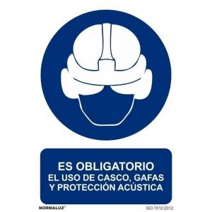 Señal obligacion uso casco,gafas y orejeras aluminio 210x30 NORMALUZ