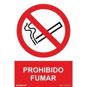 Señal adhesiva prohibido fumar vinilo 200x300mm NORMALUZ