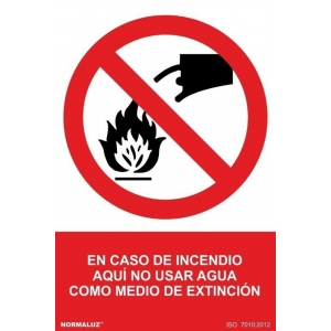 Señal adhesiva en caso de incendio no utilizar agua vinilo 1 NORMALUZ
