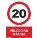 Señal velocidad maxima 20km/h pvc 210x300x0,7mm NORMALUZ