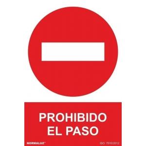 Señal prohibido pasar pvc 210x300x0,7mm NORMALUZ