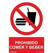 Señal adhesiva prohibido comer y beber vinilo 200x300mm NORMALUZ