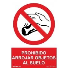 Señal adhesiva prohibido arrojar objetos al suelo vinilo 20 NORMALUZ
