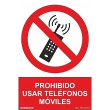 Señal prohibido usar movil pvc 210x300x0,7mm NORMALUZ