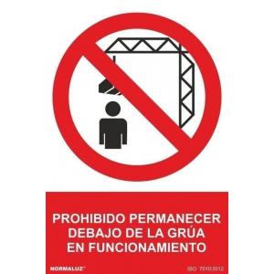 Señal prohibido estar debajo de la grua pvc 210x300x0,7mm NORMALUZ
