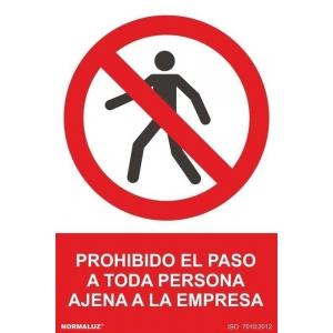 Señal adhesiva prohibido el paso ajenos a la empresa vinilo NORMALUZ