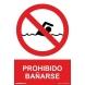 Señal prohibido bañarse pvc 210x300x0,7mm NORMALUZ