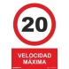Señal velocidad maxima 20km/h aluminio 210x300x0,5mm NORMALUZ