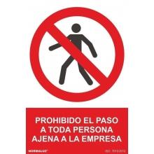 """Señal """"Prohibido el paso persona ajena"""" PVC 210x300x0,7mm NORMALUZ"""