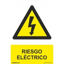 Señal adhesiva riesgo electrico vinilo 100x150mm CON TEXTO NORMALUZ