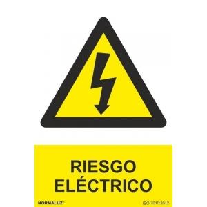 Señal adhesiva riesgo electrico vinilo 150x200mm NORMALUZ
